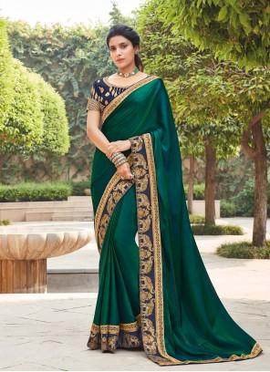 Green Lace Silk Designer Saree