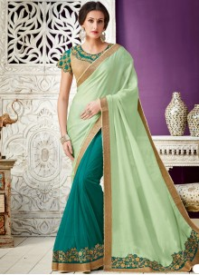 Green Lace Work Designer Saree