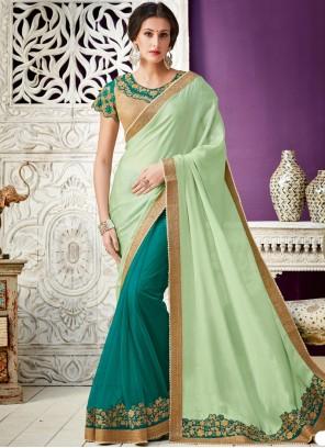 Green Lace Work Designer Saree