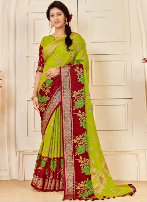Green Linen Party Classic Saree