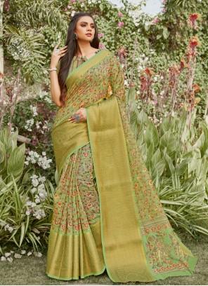 Green Linen Printed Saree