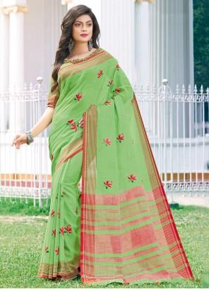 Green Linen Trendy Saree