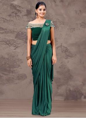 Green Lycra Fancy Designer Saree