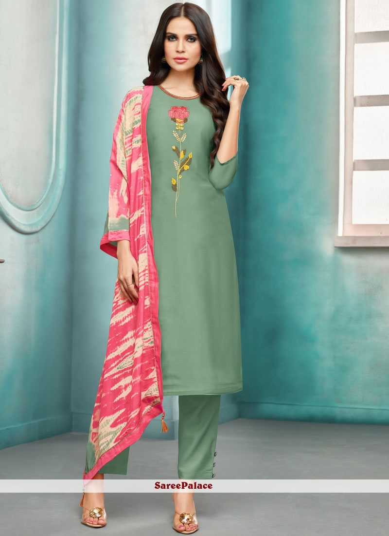 Green Maslin Silk Embroidered Pant Style Suit