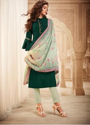 Green Maslin Silk Readymade Salwar Kameez