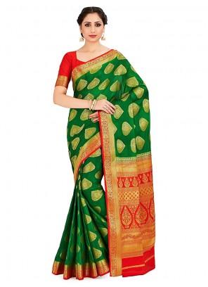 Green Mehndi Art Silk Designer Traditional Saree
