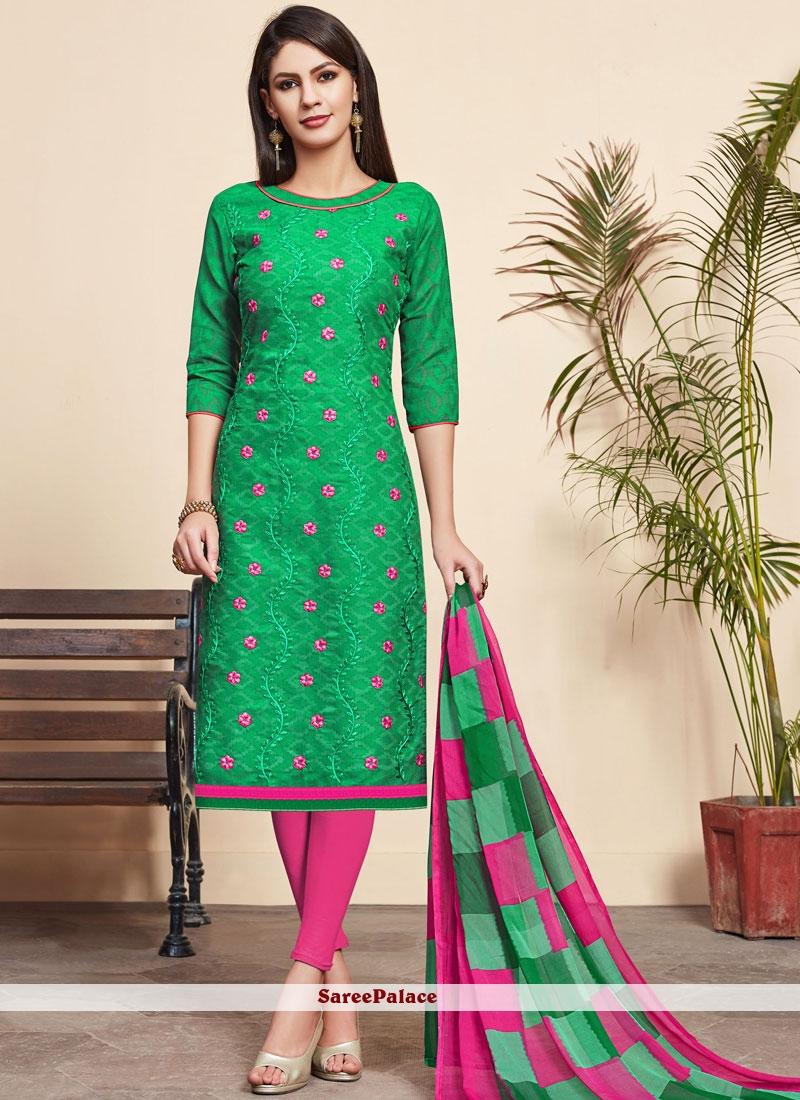 Green Mehndi Churidar Designer Suit