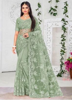 Green Mehndi Designer Saree