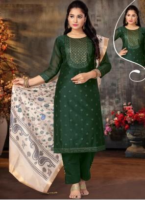 Green Embroidered Mehndi Designer Suit