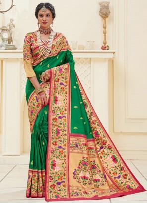 Green Mehndi Designer Traditional Saree
