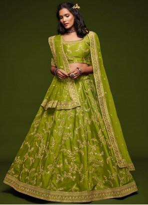 Green Embroidered Mehndi Lehenga Choli