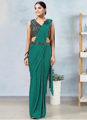 Green Mehndi Lycra Designer Saree