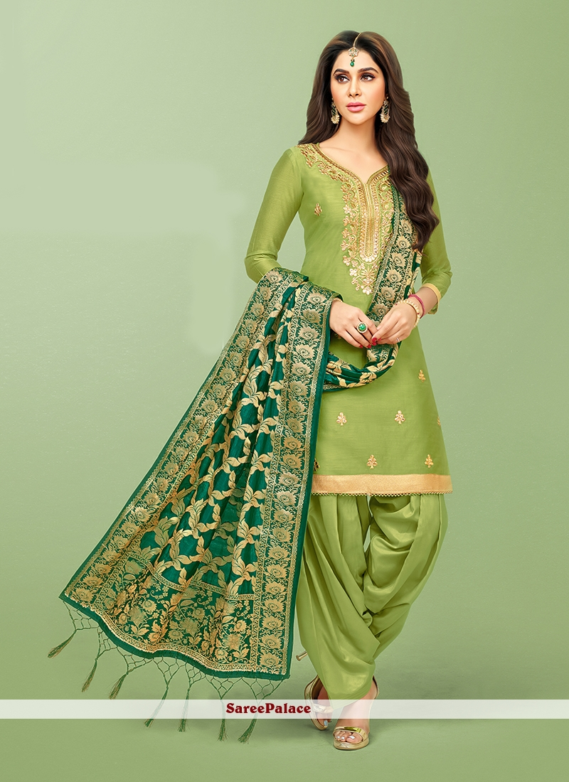 Green Mehndi Patiala Salwar Suit