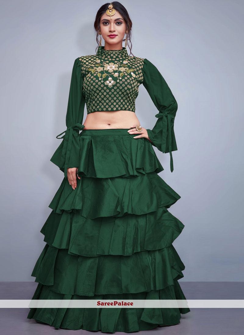 Green Mehndi Readymade Lehenga Choli