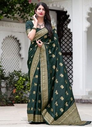 Green Mehndi Silk Designer Traditional Saree