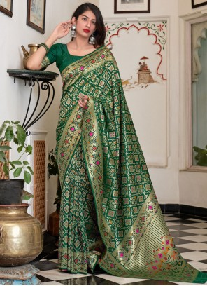 Green Mehndi Silk Traditional Saree