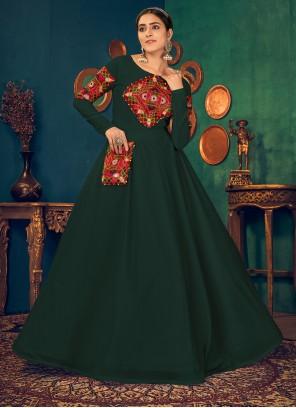 Green Mirror Georgette Floor Length Gown