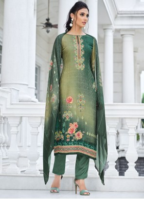 Green Muslin Ceremonial Designer Straight Suit
