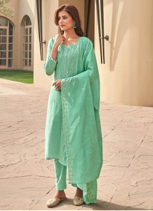 Green Muslin Embroidered Pant Style Suit