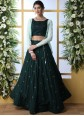Green Muslin Embroidered Trendy Designer Lehenga Choli