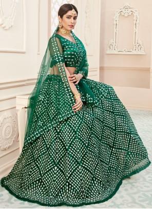 Green Net Embroidered Lehenga Choli