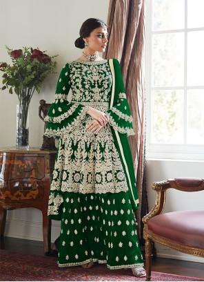 Green Net Festival Designer Palazzo Suit