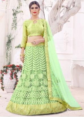 Green Net Thread Zari Lehenga Choli
