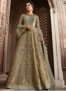 Green Net Mehndi Anarkali Salwar Kameez
