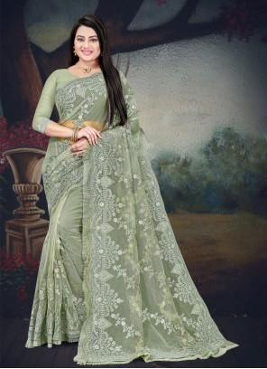Green Net Resham Classic Designer Saree