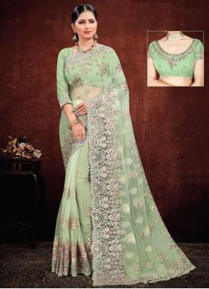 Green Net Resham Classic Saree