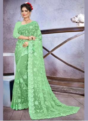 Green Net Sangeet Classic Designer Saree