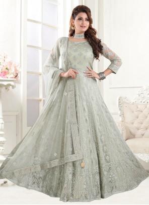 Green Net Sangeet Floor Length Anarkali Suit