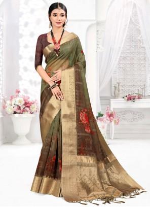 Green Organza Traditional Designer Saree