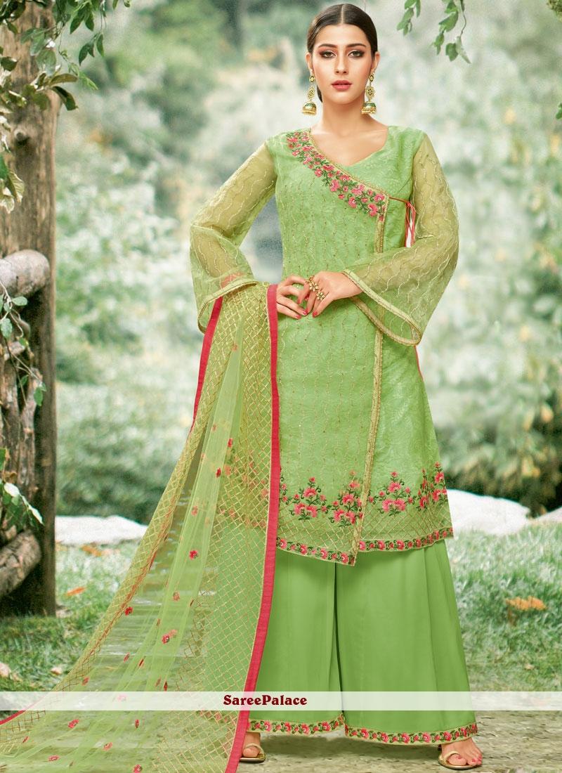 Green Palazzo Designer Salwar Kameez
