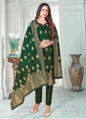 Green Banarasi Silk Pant Style Suit