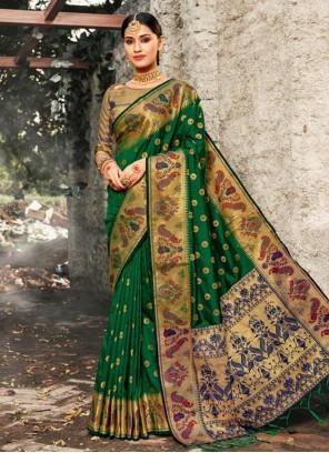 Green Party Banarasi Silk Bollywood Saree