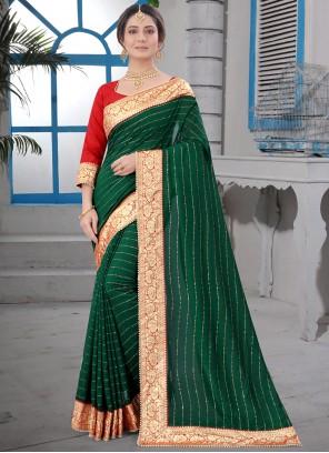 Green Party Contemporary Saree