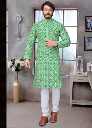 Jacquard Silk Green Party Kurta Pyjama