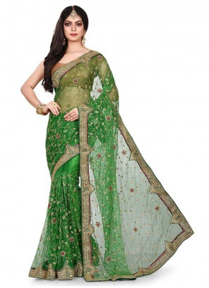 Green Party Net Designer Traditional Saree