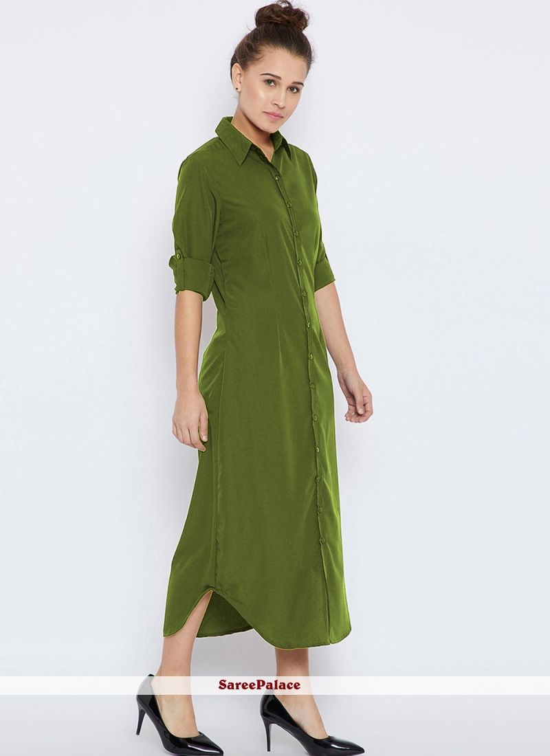 Green Party Rayon Party Wear Kurti
