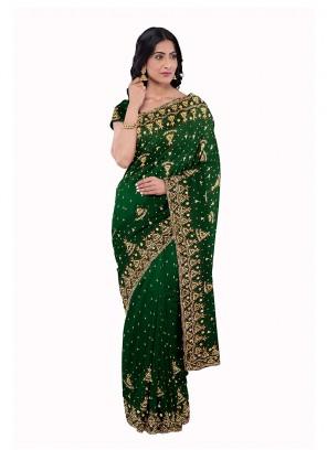 Green Party Saree