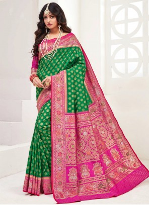 Green Party Silk Bollywood Saree