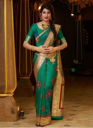 Green Party Silk Contemporary Saree
