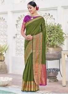 Weaving Zari Green Party Silk Saree