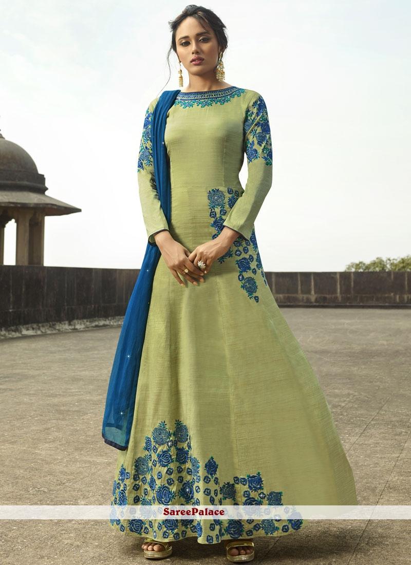 Green Party Tussar Silk Floor Length Anarkali Suit