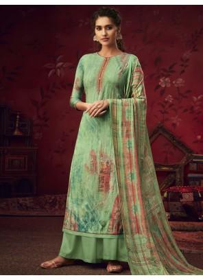 Green Pashmina Festival Salwar Suit