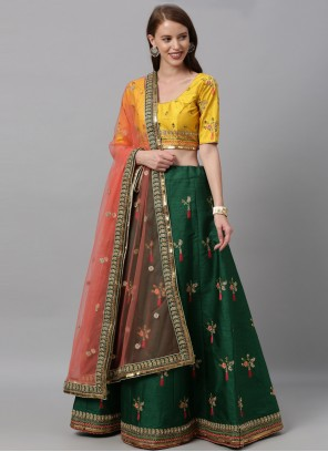 Green Patch Border Art Silk Lehenga Choli