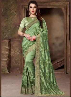 Green Patch Border Art Silk Traditional Designer Saree