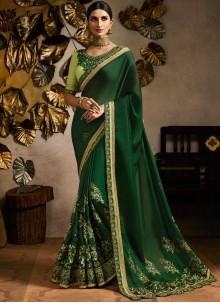 Green Patch Border Ceremonial Classic Designer Saree