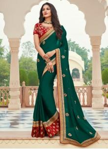 Green Patch Border Ceremonial Designer Saree